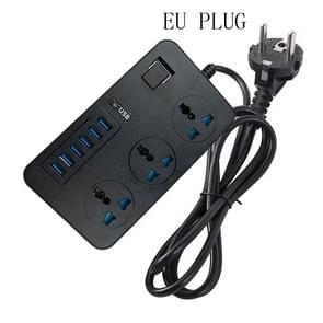 T09 3000W High Power Multi-Function Plug-in 3-Hole International Universal Jack + 6 USB Intelligent Charging EU PLUG