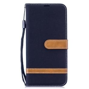 Color Matching Denim Texture Leather Case for Xiaomi Redmi Note 6, with Holder & Card Slots & Wallet & Lanyard(Black)