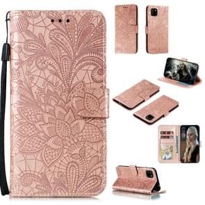 Voor Huawei Y5P / Honor 9S Lace Flower Embossing Pattern Horizontale Flip Lederen Case   met Holder & Card Slots & Wallet & Photo Frame & Lanyard(Rose Gold)
