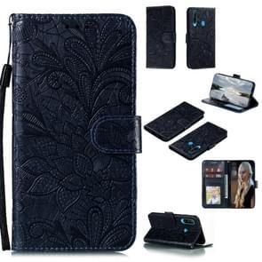 Voor Huawei Y6P Lace Flower Embossing Pattern Horizontal Flip Leather Case   met Holder & Card Slots & Wallet & Photo Frame & Lanyard(Donkerblauw)