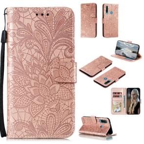 Voor Huawei Y6P Lace Flower Embossing Pattern Horizontal Flip Leather Case   met Holder & Card Slots & Wallet & Photo Frame & Lanyard(Rose Gold)