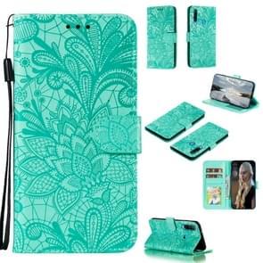 Voor Huawei Y6P Lace Flower Embossing Pattern Horizontal Flip Leather Case   met Holder & Card Slots & Wallet & Photo Frame & Lanyard(Groen)