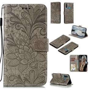 Voor Huawei Y6P Lace Flower Embossing Pattern Horizontal Flip Leather Case   met Holder & Card Slots & Wallet & Photo Frame & Lanyard(Grey)