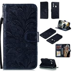 Voor Huawei Y7P / P40 Lite Lace Flower Embossing Pattern Horizontale Flip Lederen Case   met Holder & Card Slots & Wallet & Photo Frame & Lanyard(Donkerblauw)