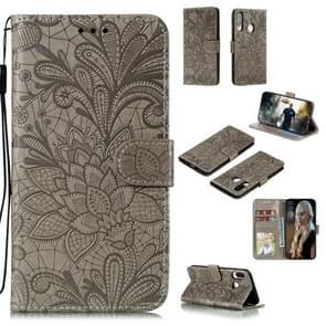 Voor Huawei Y7P / P40 Lite Kantbloem reliëf patroon horizontale flip lederen kast   met Holder & Card Slots & Wallet & Photo Frame & Lanyard(Grijs)