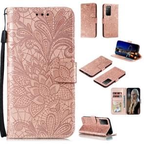 Voor Huawei Honor X10 Lace Flower Embossing Pattern Horizontale Flip Lederen Case   met Holder & Card Slots & Wallet & Photo Frame & Lanyard(Rose Gold)