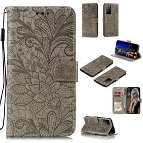Voor Huawei Honor X10 Lace Flower Embossing Pattern Horizontal Flip Leather Case   met Holder & Card Slots & Wallet & Photo Frame & Lanyard(Grey)