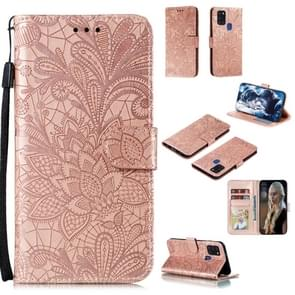 Voor Samsung Galaxy A21s Lace Flower Embossing Pattern Horizontale Flip Lederen Case   met Holder & Card Slots & Wallet & Photo Frame & Lanyard(Rose Gold)