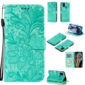 Voor Samsung Galaxy A21s Lace Flower Embossing Pattern Horizontale Flip Lederen Case   met Holder & Card Slots & Wallet & Photo Frame & Lanyard(Groen)
