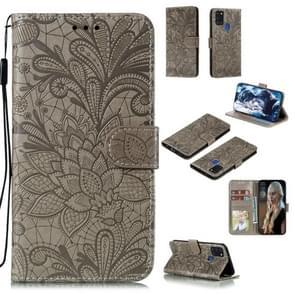 Voor Samsung Galaxy A21s Lace Flower Embossing Pattern Horizontale Flip Lederen Case   met Holder & Card Slots & Wallet & Photo Frame & Lanyard(Grijs)