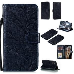 Voor Samsung Galaxy A31 Kantbloem reliëf patroon horizontale flip lederen case   met Holder & Card Slots & Wallet & Photo Frame & Lanyard(Donkerblauw)