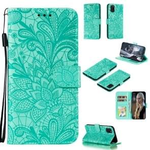 Voor Samsung Galaxy A31 Kantbloem reliëf patroon horizontale flip lederen case   met Holder & Card Slots & Wallet & Photo Frame & Lanyard(Groen)