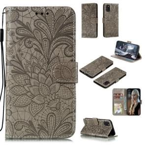 Voor Samsung Galaxy A31 Kantbloem reliëf patroon horizontale flip lederen case   met Holder & Card Slots & Wallet & Photo Frame & Lanyard(Grijs)