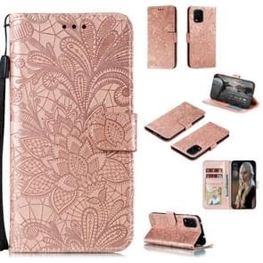 Voor Xiaomi Mi 10 Lite 5G Lace Flower Embossing Pattern Horizontale Flip Leather Case   met Holder & Card Slots & Wallet & Photo Frame & Lanyard(Rose Gold)