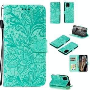Voor Xiaomi Mi 10 Lite 5G Lace Flower Embossing Pattern Horizontale Flip Leather Case   met Holder & Card Slots & Wallet & Photo Frame & Lanyard(Groen)