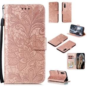 Voor Sony Xperia L4 Lace Flower Embossing Pattern Horizontale Flip Lederen Case   met Holder & Card Slots & Wallet & Photo Frame & Lanyard(Rose Gold)