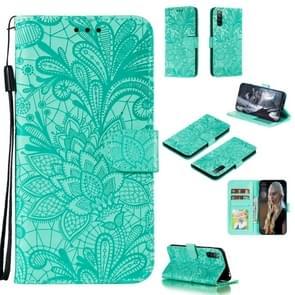Voor Sony Xperia L4 Lace Flower Embossing Pattern Horizontale Flip Lederen Case   met Holder & Card Slots & Wallet & Photo Frame & Lanyard(Groen)
