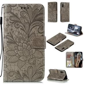 Voor Sony Xperia L4 Lace Flower Embossing Pattern Horizontale Flip Lederen Case   met Holder & Card Slots & Wallet & Photo Frame & Lanyard(Grijs)