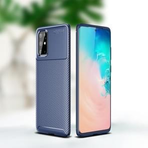 Voor Sumsung Galaxy Note 20 Carbon Fiber Texture Shockproof TPU Case(Blauw)