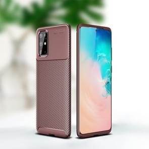 Voor Sumsung Galaxy Note 20 Carbon Fiber Texture Shockproof TPU Case (Bruin)