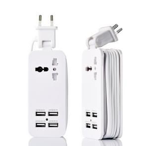 Draagbare 4-poorts USB + 3-hole International Universal Socket Multi-Functional Plug-in Europese meter