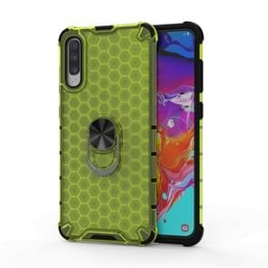 Voor Huawei P30 Schokbestendige honingraat PC + TPU Ring Holder Protection Case(Groen)