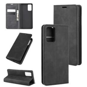Voor Samsung Galaxy Note20 Retro-skin Business Magnetic Suction Leather Case met Holder & Card Slots & Wallet(Zwart)