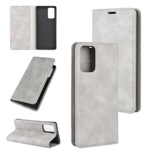 Voor Samsung Galaxy Note20 Retro-skin Business Magnetic Suction Leather Case met Holder & Card Slots & Wallet(Grey)