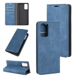 Voor Samsung Galaxy Note20 Retro-skin Business Magnetic Suction Leather Case met Holder & Card Slots & Wallet(Donkerblauw)