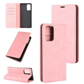 Voor Samsung Galaxy Note20 Retro-skin Business Magnetic Suction Leather Case met Holder & Card Slots & Wallet(Pink)