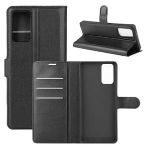 Voor Samsung Galaxy Note20 Litchi Texture Horizontale Flip Beschermhoes met Holder & Card Slots & Wallet(Zwart)