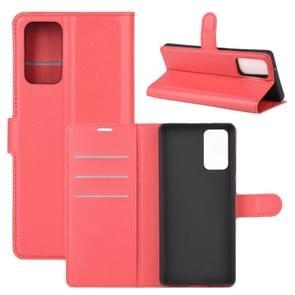 Voor Samsung Galaxy Note20 Litchi Texture Horizontale Flip Beschermhoes met Holder & Card Slots & Wallet(Rood)