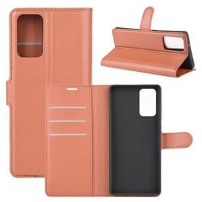 Voor Samsung Galaxy Note20 Litchi Texture Horizontale Flip Beschermhoes met Holder & Card Slots & Wallet(Bruin)