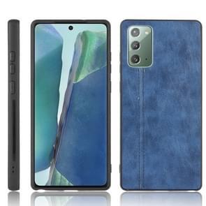Voor Samsung Galaxy Note20 Schokbestendige naaikoeienhuid PC + PU + TPU-hoesje(blauw)