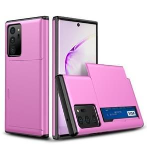 Voor Samsung Note20 Ultra Shockproof Rugged Armor Protective Case met card slot (Pink)