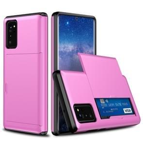 Voor Samsung Note20 Schokbestendige Rugged Armor Beschermhoes met kaartsleuf (Roze)