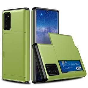 Voor Samsung Note20 Schokbestendige Rugged Armor Beschermhoes met kaartsleuf (groen)