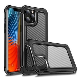 Voor iPhone 12 Transparante koolstofvezel textuur Robuuste Full Body TPU + PC krasbestendige schokbestendige case(Zwart)