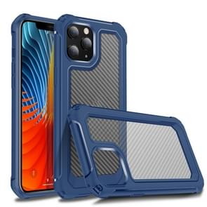 Voor iPhone 12 Transparante koolstofvezel textuur Robuuste Full Body TPU + PC krasbestendige schokbestendige case(blauw)