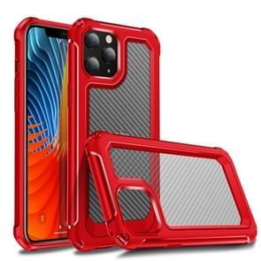 Voor iPhone 12 Transparante koolstofvezel textuur Robuuste Full Body TPU + PC krasbestendige schokbestendige case(Rood)
