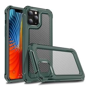 Voor iPhone 12 Pro Transparante koolstofvezelstructuur Robuuste Full Body TPU+PC Krasbestendige schokbestendige case (Army Green)