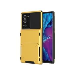 Voor Samsung Galaxy Note20 Krasbestendige schokbestendige Heavy Duty Rugged Armor beschermhoes met kaartsleuf (geel)