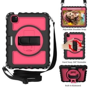 Voor iPad Air 2020 10 9 360 graden rotatie PC + Siliconen Schokbestendige Combinatiecase met Holder & Hand Grip Strap & Neck Strap & Pen Slothouder (Black+Hot Pink)(Black+Hot Pink)(Black+Hot Pink)(Black+Hot Pink)