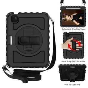 Voor iPad Air 2020 10 9 360 graden rotatie PC + Siliconen Schokbestendige combinatiecase met houder & handgreepband & halsband & pensleufhouder(zwart)