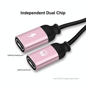 ENKAY ENK-AT104 8 Pin naar Dual 8 Pin Opladen Luister naar songs Aluminium Alloy Adapter Conversion Cable (Rose Gold)