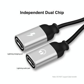 ENKAY ENK-AT104 8 Pin naar Dual 8 Pin Opladen Luister naar songs Aluminium Alloy Adapter Conversion Cable(Zilver)