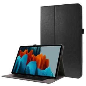 Voor Samsung Galaxy Tab S7+ T970/T976B 2-opvouwbare business horizontale flip pu lederen tas met kaartslots & houder(zwart)