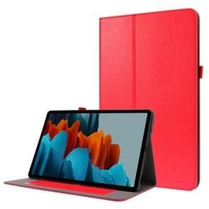 Voor Samsung Galaxy Tab S7+ T970/T976B 2-opvouwbare business horizontale flip pu lederen tas met kaartslots & -houder(rood)