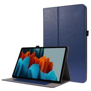 Voor Samsung Galaxy Tab S7+ T970/T976B 2-opvouwbare business horizontale flip pu lederen tas met kaartslots & -houder(DeepBlue)