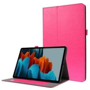 Voor Samsung Galaxy Tab S7+ T970/T976B 2-opvouwbare business horizontale flip pu lederen tas met kaartslots & -houder(RoseRed)